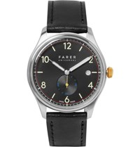 Farer Frobisher Original Stainless Steel And Leather Watch Black