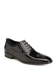 Salvatore Ferragamo Aiden Patent Leather Lace Up Shoes Black