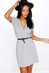 Boohoo Cap Sleeve Wrap Skater Dress Grey