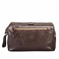 Maxwell Scott Bags The Duno L Men's Large Leather Wash Bag Chocolate Brown