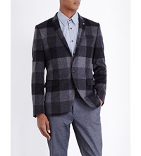 Ted Baker Statement Checked Wool Blend Jacket Grey