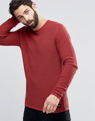 Only And Sons Textured Knitted Jumper Red