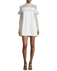 Self Portrait Long Sleeve Lace Trim Crepe Mini Dress White