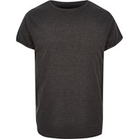 River Island Mens Dark Grey Chest Pocket T Shirt