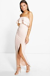 Huda Double Layer Frill Peplum Maxi Dress
