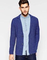 United Colors Of Benetton Knitted Blazer With Elbow Patches Blue