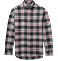 Gitman Brothers Vintage Button Down Collar Checked Cotton Flannel Shirt Gray
