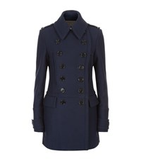 Burberry Wool Pea Coat Female Navy