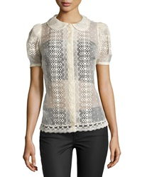Red Valentino Lace Short Sleeve Blouse Ivory