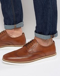 Asos Brogue Shoes In Tan Leather With White Wedge Sole Tan
