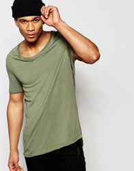 Asos Longline T Shirt With Stretch Neck And Dropped Hem In Green Burnt Olive