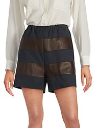 Brunello Cucinelli Striped Wool Blend And Leather Shorts Navy