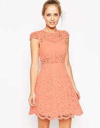 Asos Lace Mini Prom Dress With Bra Top Pink