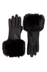 Ted Baker Women's London Leather Gloves With Faux Fur Cuff
