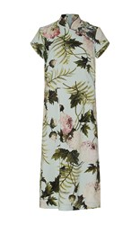Antonio Marras Short Sleeve Cheongsam Styled Peony Dress Light Blue
