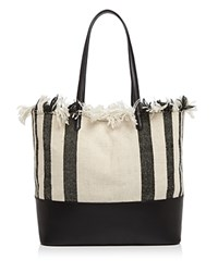 Loeffler Randall Woven Beach Tote Black Natural Black