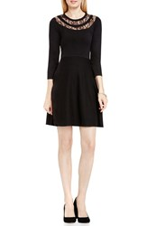 Vince Camuto Women's Lace Inset Fit And Flare Sweater Dress Rich Black