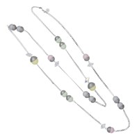 Nadia Minkoff Endless Multi Pearl And Crystal Spike Necklace Pastel Mix Silver