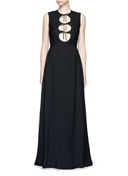 Rosetta Getty Cutout Tie Front Sleeveless Combo Crepe Gown Black