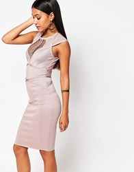 Wow Couture Panelled Bandage Dress Dusky Wineberry Pink