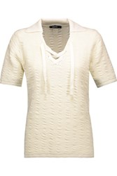 Raoul Lace Up Textured Cotton Blend Sweater Ivory