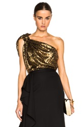 Lanvin Knotted One Shoulder Cheetah Print Silk Top In Metallics Animal Print