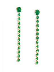 Ila Liliya Emerald And 14K Yellow Gold Linear Drop Earrings Gold Emerald
