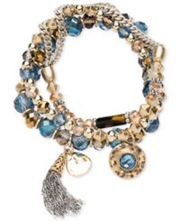 Lonna And Lilly Gold Tone 3 Pc. Set Blue Crystal Stretch Bracelets Two Tone