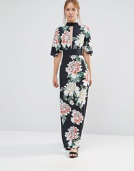 Liquorish Kimono Sleeve Maxi Dress Black