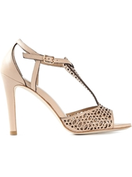 Lola Cruz Laser Cut Pattern Stilleto Sandals