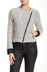 Bnci By Blanc Noir Short Tweed Asymmetric Zip Drape Jacket Gray