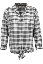 Current Elliott The Western Tie Front Plaid Ramie And Cotton Blend Shirt Multi