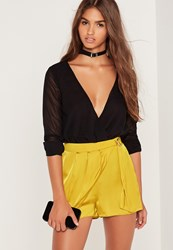 Missguided Satin D Ring Side Wrap Skort Yellow Green