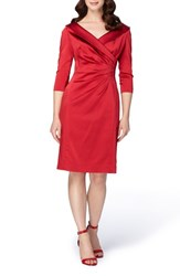 Tahari Women's Portrait Collar Satin Sheath Dress Lipstick