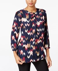 Jm Collection Printed Pleated Back Blouse Only At Macy's Diamond Mine