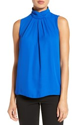 Ellen Tracy Women's Stand Collar Pleat Front Shell Yves Klein Blue