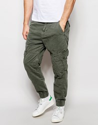True Religion Slim Tapered Cargo Trousers With Pocket Detailing Faded Olive Green