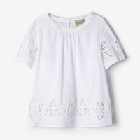 Sea French Knots Short Sleeve Top White