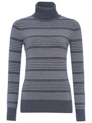 French Connection Babysoft Pinstripe Turtleneck Jumper Grey Winter White