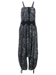 Chloe Daisy Chain Sleeveless Jumpsuit Blue White Black