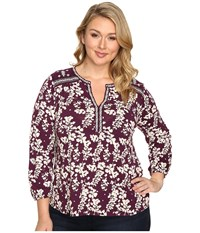 Lucky Brand Plus Size Mixed Peasant Top Winter Bloom Women's Clothing Multi