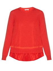 Moncler Long Sleeved Jersey Knit Sweater Red