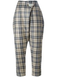 Vivienne Westwood Anglomania Checked Cropped Pants Brown