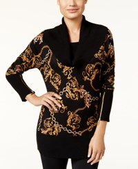 Thalia Sodi Chain Print Sweater Only At Macy's Deep Black Combo