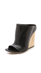 Vic Matie Open Toe Wedge Mules Black