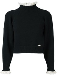 Dsquared2 Cropped Lace Collar Jumper Black