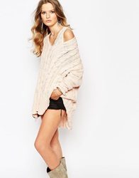 Free People Cable Knit Jumper With V Neck Champagne