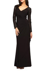 Alex Evenings Women's Embellished Faux Wrap Gown