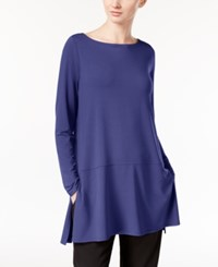 Eileen Fisher Boat Neck Tunic With Seam Detail A Macy's Exclusive Sapphire