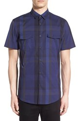 Calibrate Men's Trim Fit Plaid Short Sleeve Sport Shirt Navy Peacoat Blue Exploded